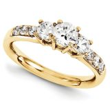 Anillo de Compromiso, 9 Diamantes Corte Brillante